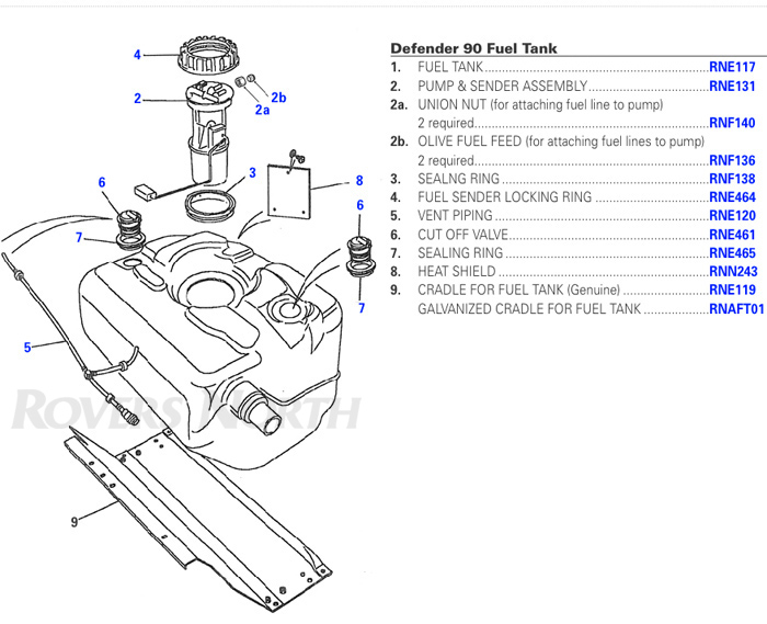 Land Rover Defender Fuel Tank and Filler Assembly