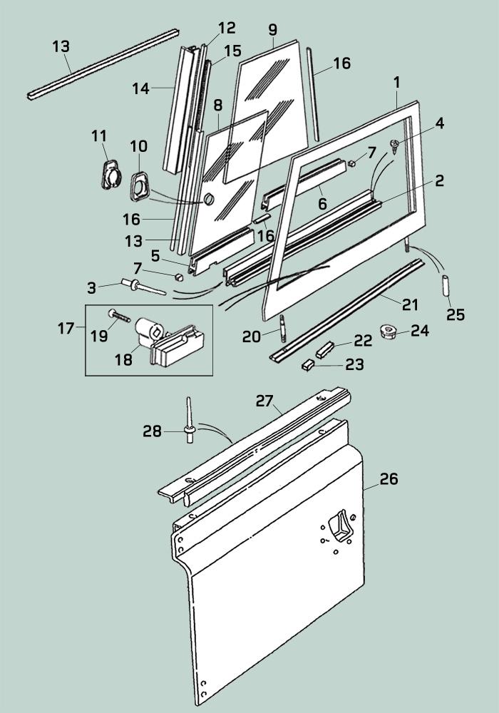 Defender Body Exterior Doors Hinges Front Door Nas Soft Top Door Assembly Parts on Door Parts Diagram