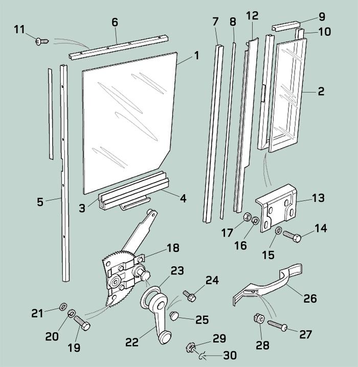Defender Middle Door Window Channel Glass Amp Regulator