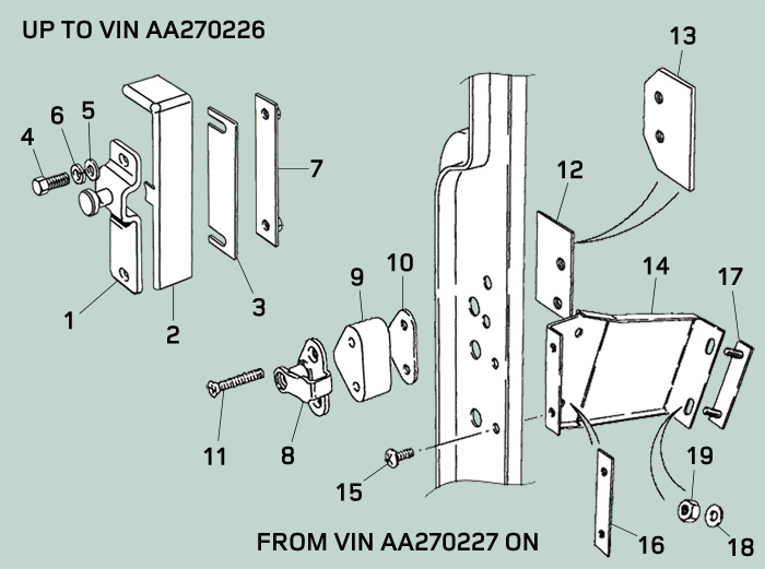 Diagram of Defender Front Door Latch