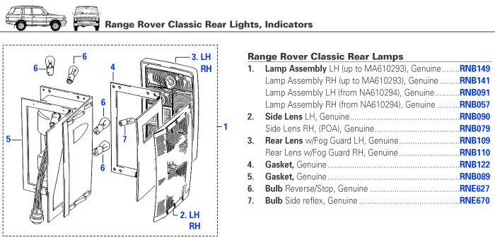 Range Rover Classic Electrical Rear Lights Rovers