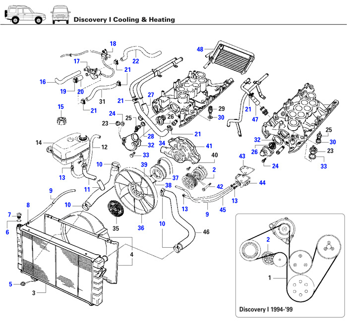 discovery i cooling heating rovers north land rover parts and rh roversnorth com range rover p38 parts diagram range rover parts diagram hood