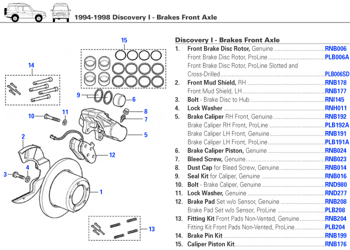 Discovery I Brakes Front Axle