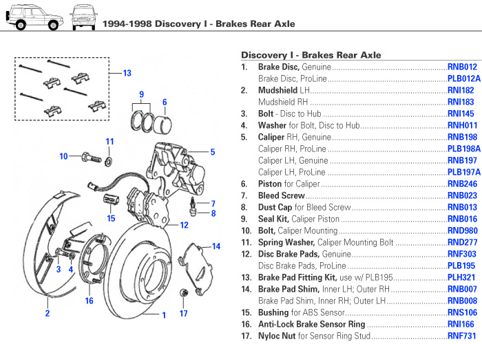 [DIAGRAM_1JK]  Land Rover Discovery I Rear Brakes | Rovers North - Land Rover Parts and  Accessories Since 1979 | Rover Brakes Diagram |  | Rovers North