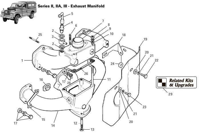 land rover series ii  iia   u0026 iii exhaust manifold