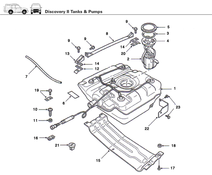 discovery ii fuel tank  filler assembly