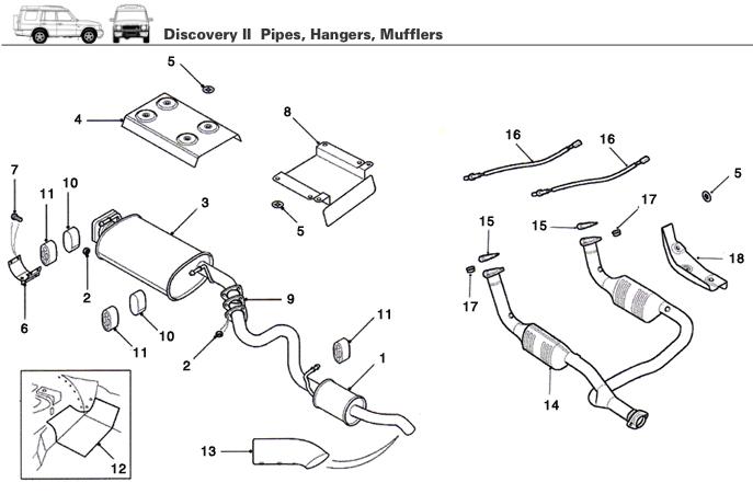 discovery ii exhaust pipe  hanger  muffler
