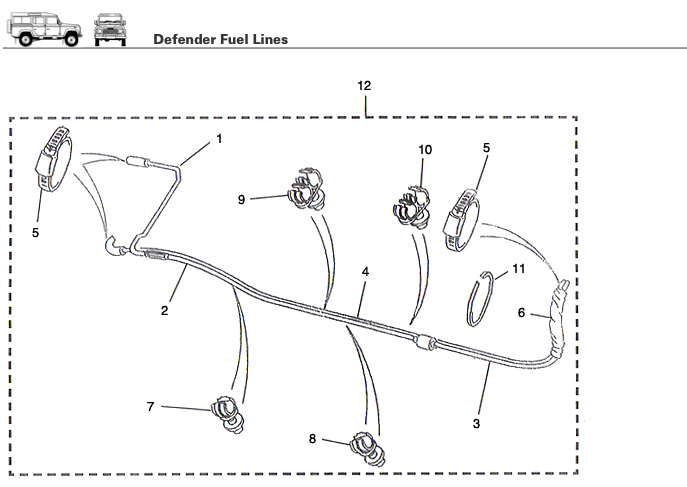 Defender fuel line rovers north land rover parts and