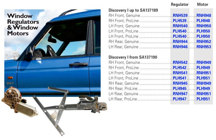 Land Rover Discovery I - Window Regulators, Motors