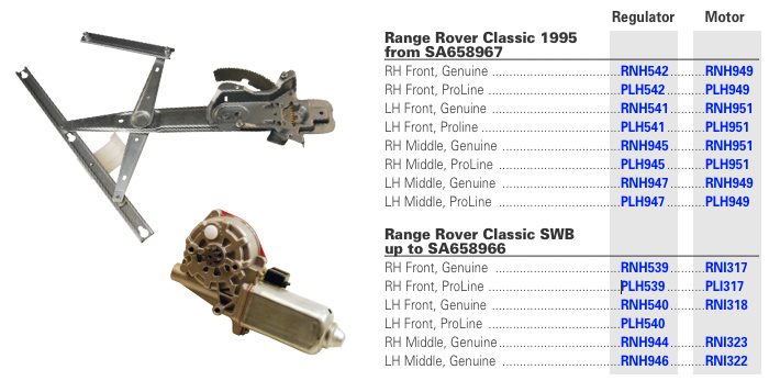 Range Rover Classic Window Regulators & Motors