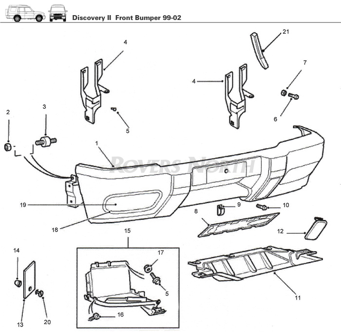 Discovery II Front Bumper, 1999-2002