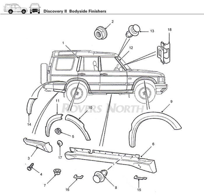 Land Rover Discovery Engine Parts: Bodyside Finishers, Wheelarch Flare, Discovery II
