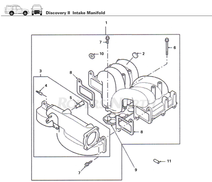 Intake Manifold, Top End, Engine, Discovery II