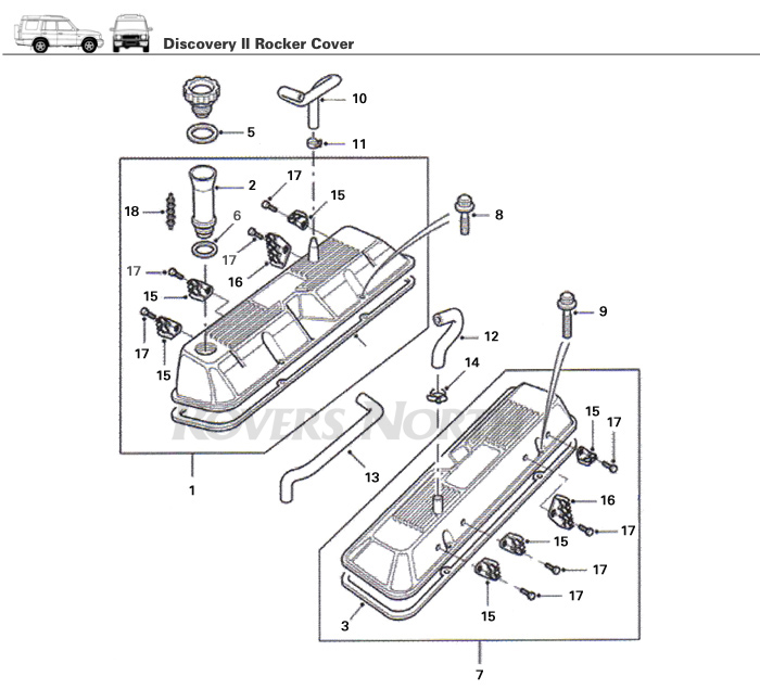 rocker cover  top end  engine  discovery ii