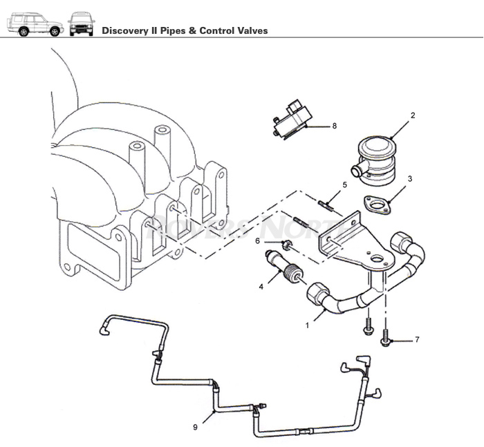 pipes and control valves top end engine discovery ii rovers rh roversnorth com Range Rover Sport EGR Diagram Diagram of the Range Rover