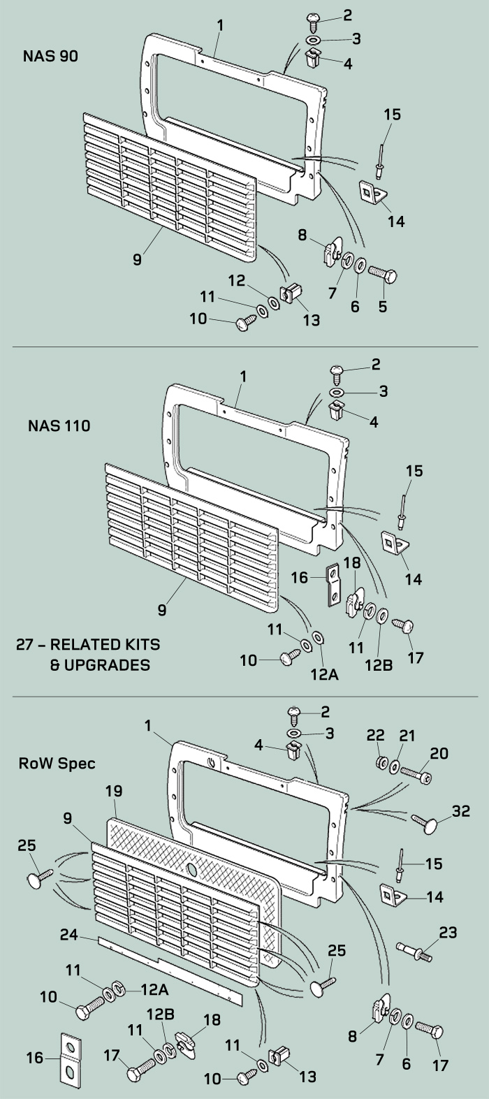 Defender Body - Exterior Front Panels and Grille Parts