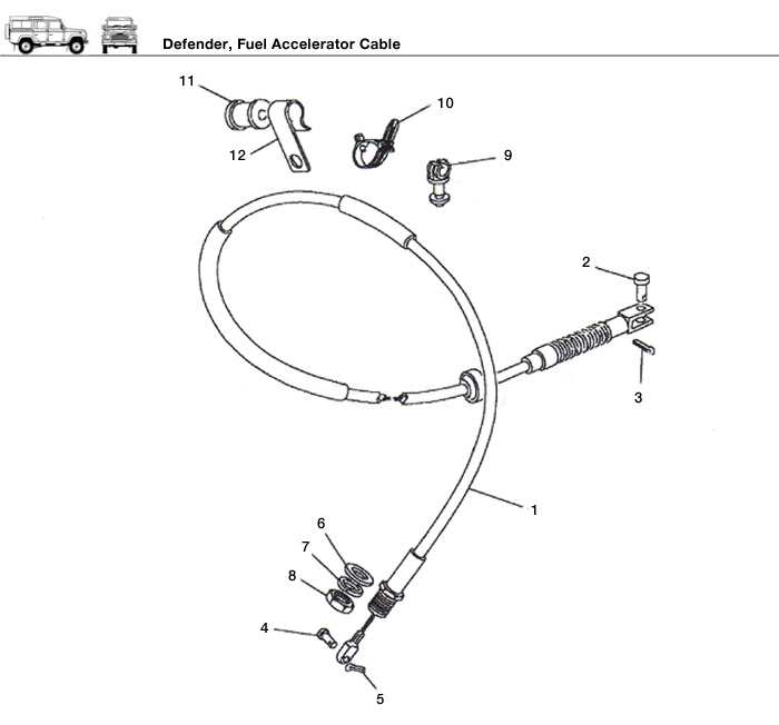 defender accelerator cable