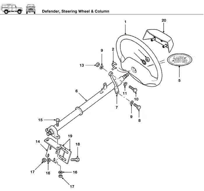 defender steering wheel amp column rovers north land range rover steering column wiring diagram #3