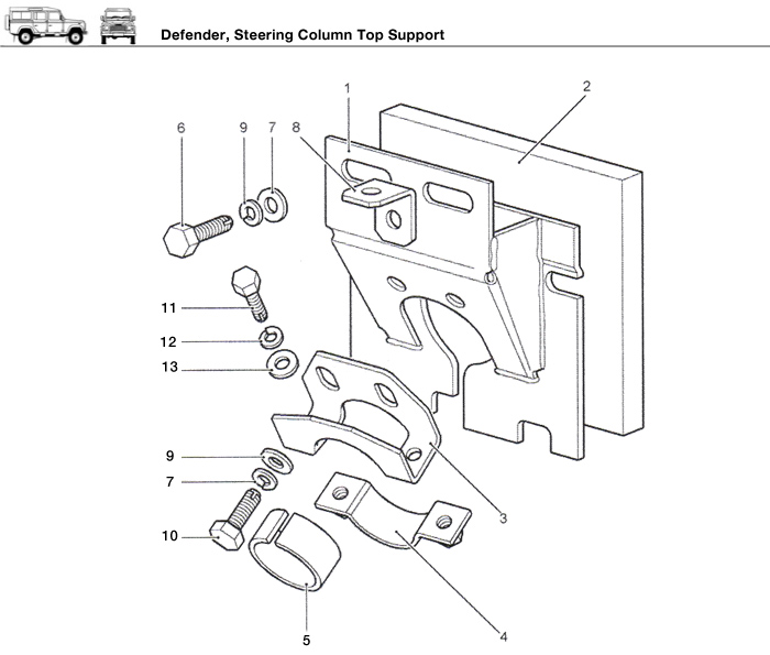 Defender Steering Column Top Support Rovers North