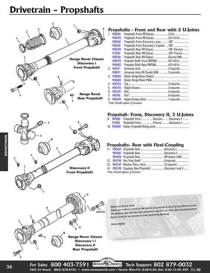 Range Rover Classic Prop Shaft Rovers North Land Rover