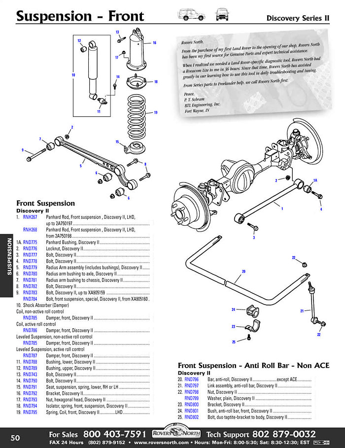 Discovery II Front Axle Suspension | Rovers North - Land Rover ...
