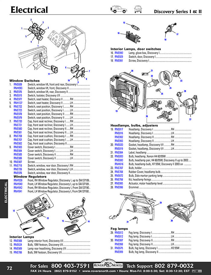 discovery ii electrical switches and relay rovers north land rh roversnorth com Auto Headlight Wiring Diagram Chevy Headlight Wiring Diagram