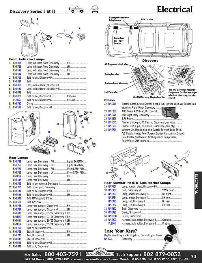 RRD page73.1 discovery ii electrical switches and relay rovers north 2004 Ford F-150 Fuse Box Diagram at bakdesigns.co