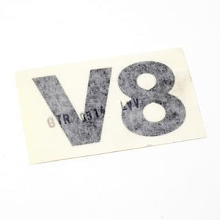 "DECAL ""V8"" FRONT WING DEFENDER CHARCOAL"