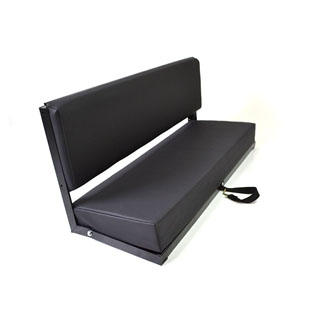 Rear Side Bench Seat For Series & Defender - Black Leather - Black Frame