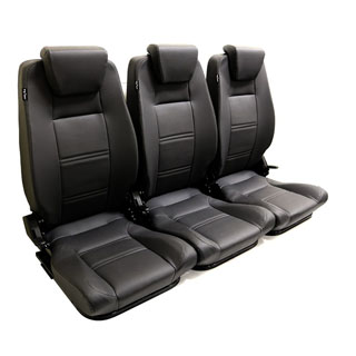 Premium High Back 2nd Row Seat - Full Seat Set - Black Leather