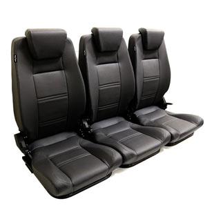 Premium High Back 2nd Row Seat - Full Seat Set - Black Vinyl