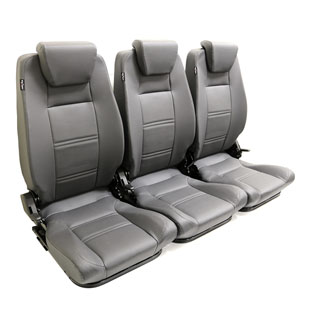 Premium High Back 2nd Row Seat - Full Seat Set - Dark Grey Vinyl