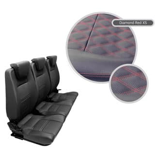 Premium High Back 2nd Row Full Seat Set - Black Vinyl Diamond Red Xs