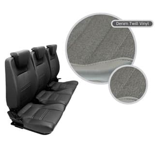 PREMIUM HIGH BACK 2ND ROW FULL SEAT SET IN DENIM TWILL Discontinued-style headrests
