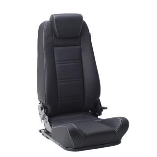 Prem Hi-Back 2nd Row Seat LH Blk Leather White Stitching