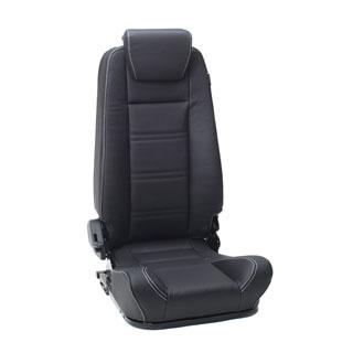 Prem Hi-Back 2nd Row Seat RH Blk Leather White Stitching