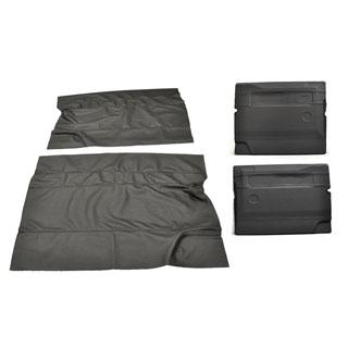 Door Trim Cover Kit Front Pair - Black Leather / Black Stitch