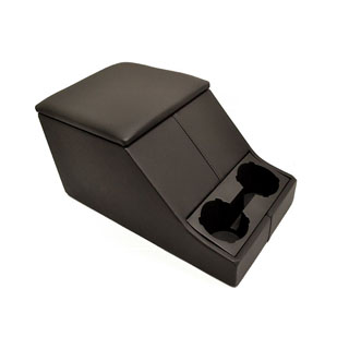 Exmoor Non-Locking Cubby Box With Twin Cup Holder For Defender & Series - Full Black Leather