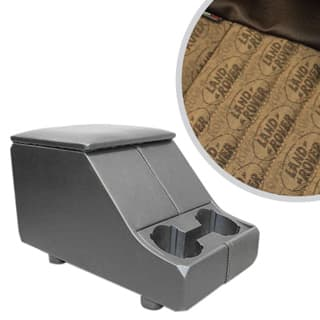 EXMOOR NON-LOCKING CUBBY BOX WITH TWIN CUP HOLDER FOR DEFENDER & SERIES - LAND ROVER LOGO BROWN