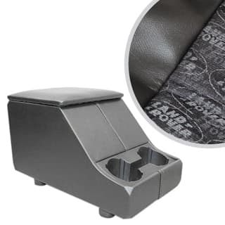 EXMOOR NON-LOCKING CUBBY BOX WITH TWIN CUP HOLDER FOR DEFENDER & SERIES - LAND ROVER LOGO BLACK