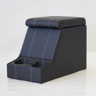Premium Xl Cubby Box in Black Leather With White Stitching