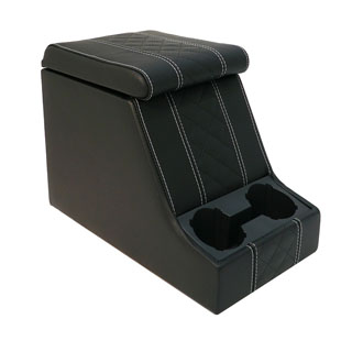 Premium Xl Cubby Box in Diamond Xs Black Leather/White Stitch