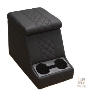 Premium Xl Cubby Box in Diamond Xs Black Leather/Black Stitch