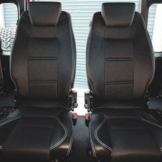 Lock & Fold Rear Seat (L/H) - Xs Black Rack 1/2 Leather