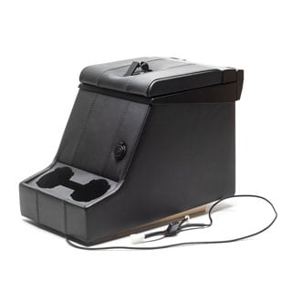 Premium Locking Cubby Box -Black Leather