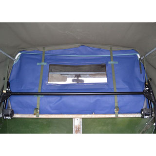 LOAD CURTAIN WITH WINDOW. BLUE, FITS FULL CANVAS TOPS ONLY SERIES & DEFENDER