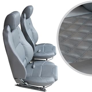 Exmoor Trim Mk-Ii Elite Seats (Pair) With Heaters and Lumbar Supports For Defender - Diamond Black Xs Vinyl