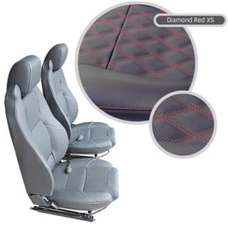 Defender Elite Seats w/Heat & Lumbar Supports - Black Vinyl Diamond Red Xs