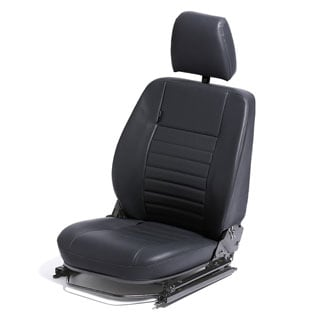 FRONT DEFENDER SEAT ASSEMBLY WITH ADJUSTABLE FRAME, RIGHT HAND IN  BLACK VINYL