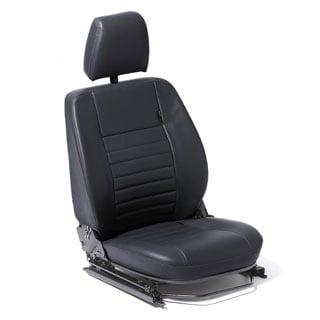 FRONT DEFENDER SEAT ASSEMBLY WITH ADJUSTABLE FRAME, LEFT HAND - BLACK VINYL